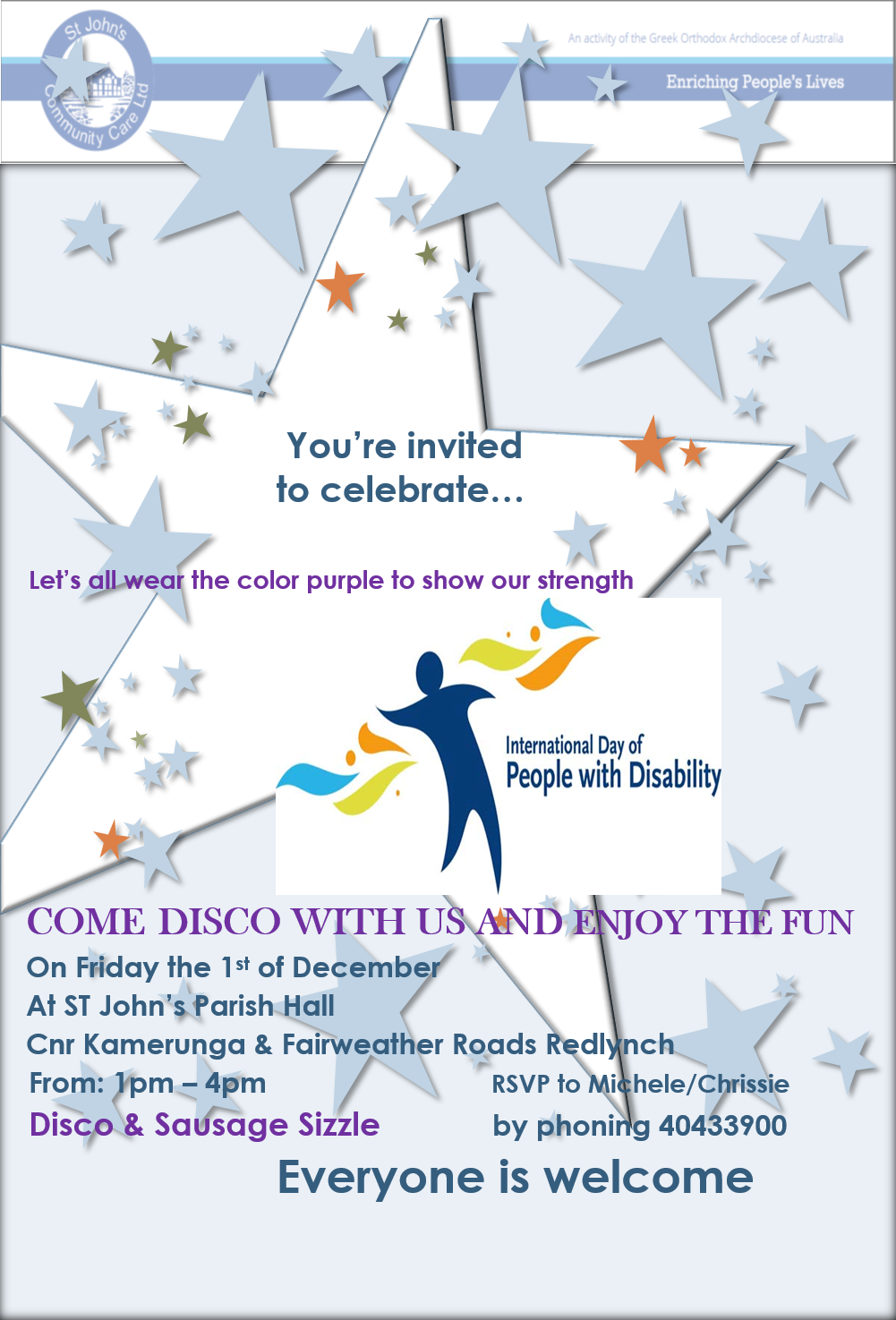 Event: Disco for celebrating the International Day For Persons With Disabilities .